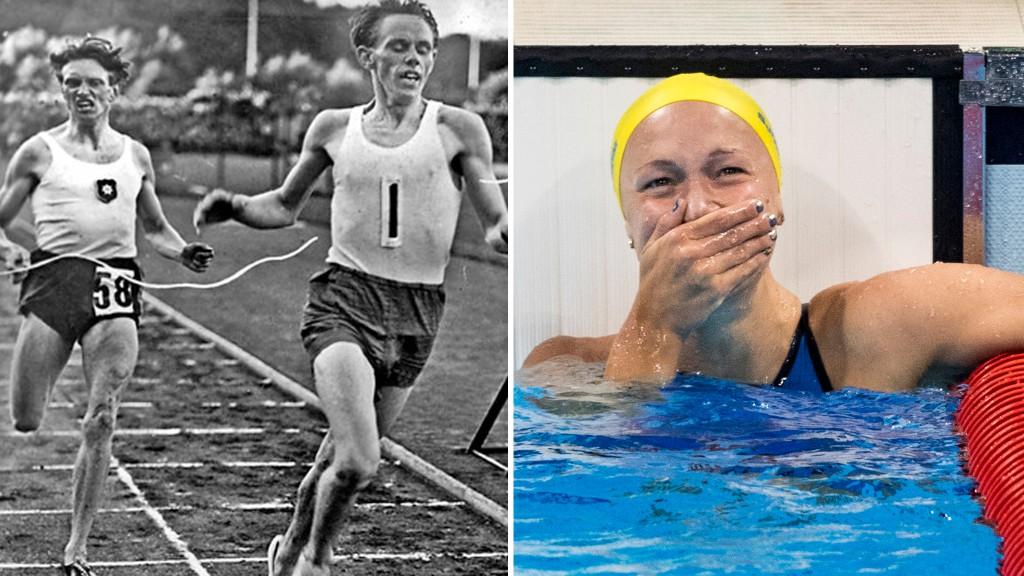Gunder Hägg vann första gången, Sarah Sjöström vann senast. Foto: Wikipedia och Bildbyrån