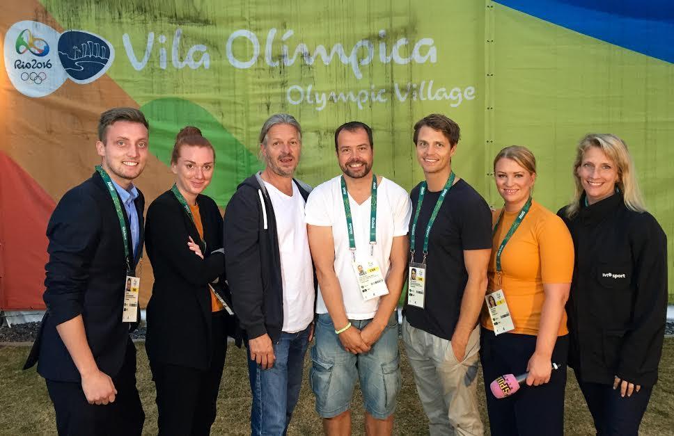 Några av de journalister som arbetade med rörliga bilder från OS – utan rättigheter. Fr v: Axel Pileby, TV4, Matilda Nyberg, Expressen, Pelle Sterner, SVT, Marko Säävälä, TT, Johan Forsstedt, TV4, Anna Rydén, Aftonbladet och Maria Wallberg, SVT.